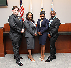 Benjamin Jacobs '17, Whitney Williams '16, Brandi Burton '16 and Dion Beatty '17 will represent Chicago-Kent in the 2016 Thurgood Marshall Mock Trial Midwest Regional Competition.