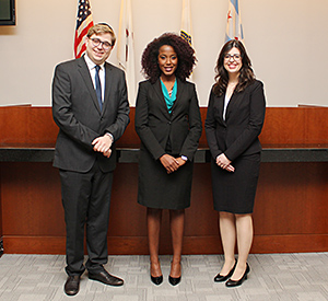 Ariel Olstein, Briana Mayes and Debora Barbosa, all third-year students, will represent Chicago-Kent in the 2016 National Moot Court Competition in Child Welfare and Adoption Law.