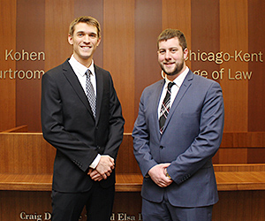Second-year students Daniel Ristau (left) and Nick DeRyke will represent Chicago-Kent at the 2016 Evan A. Evans Constitutional Law Moot Court Competition.