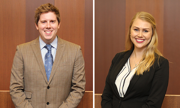 Matthew Smart '16 and Katie DeBoer '16, members of the Chicago-Kent Moot Court Honor Society, are the recipients of the 2016 Marc Grinker Student Commitment Award.