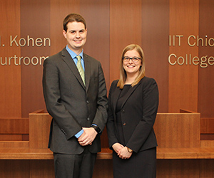 Kenneth Matuszewski '16 and Stephanie Crigler '16 are the winners of Chicago-Kent's 2016 Dolores K. Hanna Trademark Prize.