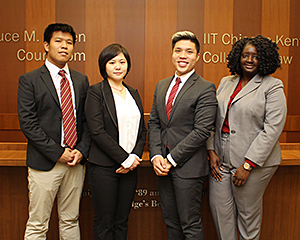 "The team of Hung Pham, Yuchen ""Ivy"" Zhang, Huy Nguyen and Rebecca Charles will represent Chicago-Kent in the 2016 Philip C. Jessup International Law Moot Court Regional Competition."