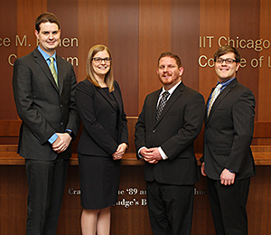 Third-year students Kenneth Matuszewski, Stephanie Crigler, David Mucci and Eliot Gusdorf will represent Chicago-Kent in the Saul Lefkowitz Moot Court Competition's 2016 Midwest regional tournament.