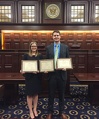 Third-year students Stephanie Crigler and Kenneth Matuszewski won second place at the national finals of the 2016 Saul Lefkowitz Moot Court Competition.