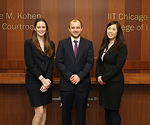 Second-year students Kathleen Karnig, Maxwell Eichenberger and Jenna Kim will compete on one of Chicago-Kent's two teams participating in the 2016 McGee National Civil Rights Moot Court Competition.