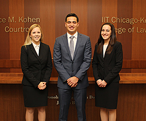 Second-year students Kelsey Weyhing, Ryan Suniga and Rebecca Horgan will comprise the other team participating in the 2016 McGee National Civil Rights Moot Court Competition.