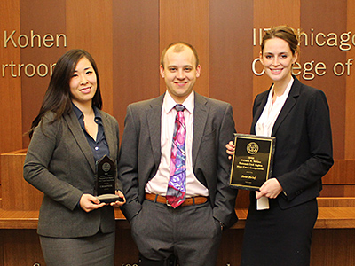 The team of Jenna Kim, Maxwell Eichenberger and Kathleen Karnig won the national championship and best brief award at the 2016 William E. McGee National Civil Rights Moot Court Competition.