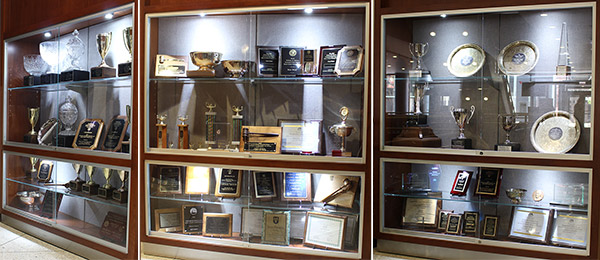Trophy cases for Chicago-Kent's formidable advocacy programs are on display on the first floor of the law school building.