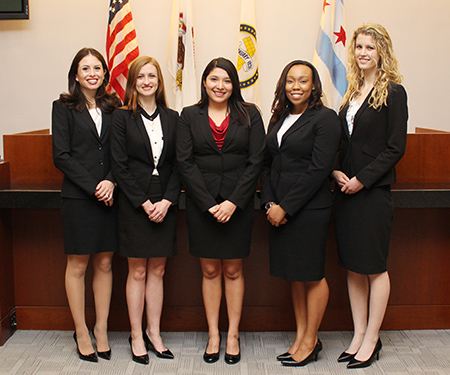 Ana Montelongo '16 and Nicolette Ward '16 will compete on one of two teams representing Chicago-Kent at the 2016 National Trial Competition Region 8 tournament. Evelyn Hernandez '16, Natalie Adeeyo '16 and Paige Olsen '17 will comprise the other team.