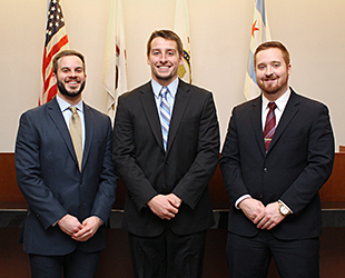 Andrew Bisping '16, Daniel Haze '18 and Mark Reel '17 will represent Chicago-Kent at the 2016 National Baseball Arbitration Competition.