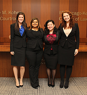 Olivia Schwartz '17, Mohini Lal '16, Dalia Labrador '17 and Erin Kuhfuss '17 will represent Chicago-Kent at the 2016 National Ethics Trial Competition.