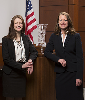 Nicolette Ward '16 (left) and Emily Schroeder '15 defeated six nationally ranked trial teams to win the 2015 National Trial Competition, the premier trial advocacy tournament in the United States.