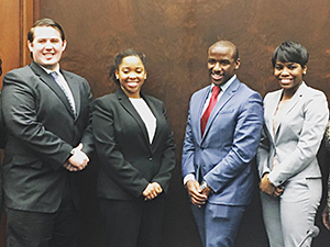 Benjamin Jacobs '17, Whitney Williams '16, Brandi Burton '16 and Dion Beatty '16 will represent Chicago-Kent in the 2016 Thurgood Marshall Mock Trial Midwest Regional Competition.