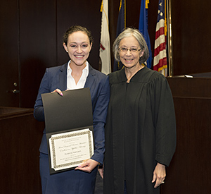 Chief Judge Diane Wood (right) presented third-year student Symone Shinton with the 2016 Ilana Diamond Rovner Award for Outstanding Appellate Advocate.