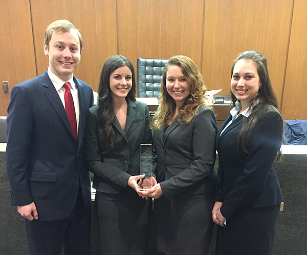 Regional champions (from left) Connor Greene, Stephanie Gerstetter, Erin Kuhfuss and Kristen Farr Capizzi will advance to the 2017 AAJ Student Trial Advocacy Competition national finals in Cleveland.