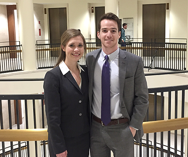 Regional champions Stephanie Flowers '18 and Quinn Ford '18 will advance to the 2017 ABA National Appellate Advocacy Competition, April 6 to 8 in Chicago.