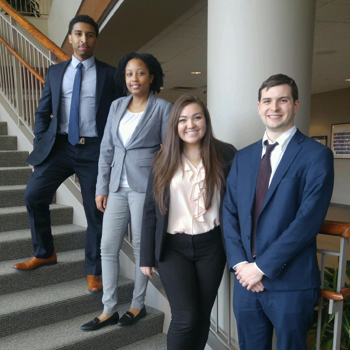 Justin Taylor '19, Imani-Ari Asanté '19, Presley Valenzuela '18 and Michael Brew, Chicago-Kent's ABA Negotiation Competition regional teams
