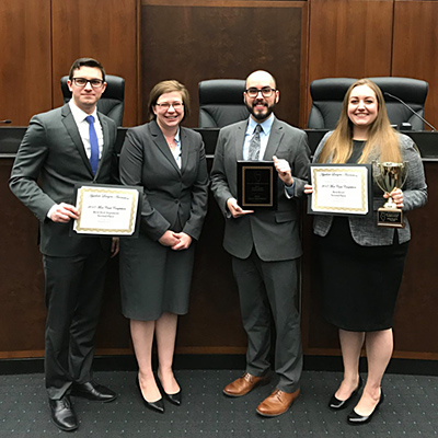 Marko Ilich and his teammate, Katherine LaRosa, finished in the top four at the 2017 ALA National Moot Court Competition, and Timothy Lavino and Alexandrina Shrove  placed second.