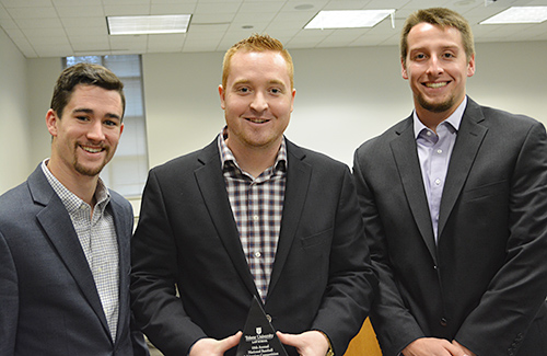 The team of Sean Fitzgerald '19, Mark Reel '17 and Daniel Haze '18 won the Best Written Materials Award at the 2017 National Baseball Arbitration Competition. (Photo courtesy of Tulane Law School)