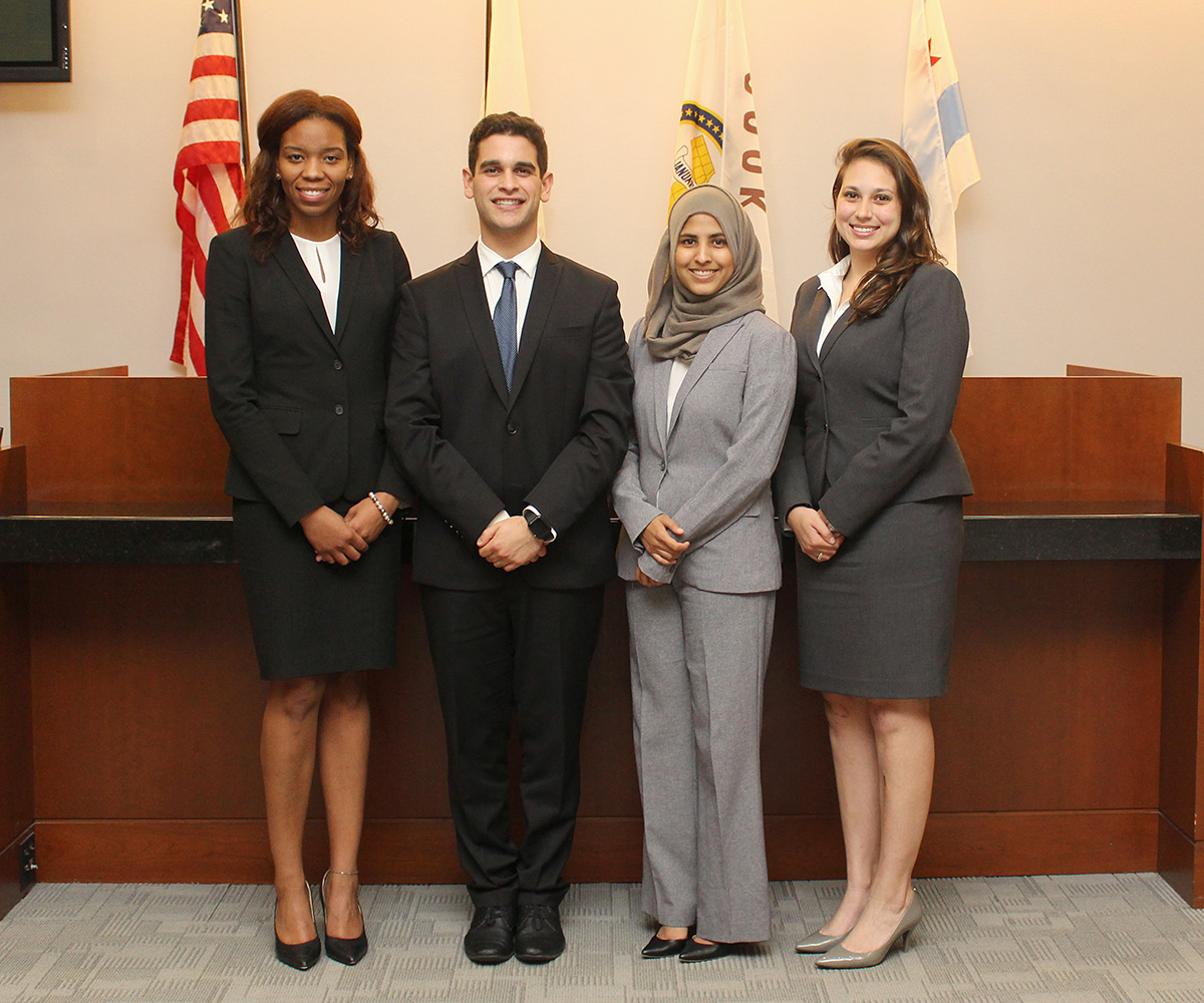 Alexis Halsell '18, Jesse Pollans '18, Shahina Khan '18 and Kristen Farr Capizzi '18 finished in second place at the 2017 National Civil Trial Competition.