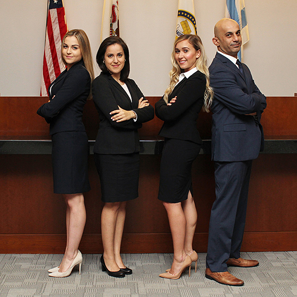 Mariam Chamilova, Carolina Solano, Dina Lupancu and Ashur Youash placed second in the 2017 Queens County District Attorney's Mock Trial Competition.