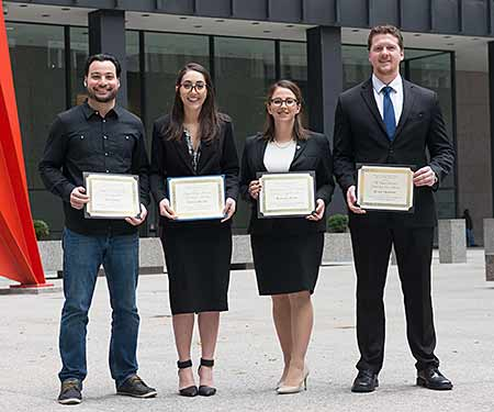 Ralph L. Brill Award winner Jack Amaro '19, second-place winner Pauline Panayi '19, first-place winner Margaret Kamm '19 and Fay Clayton Award winner Blake Thompson '19 after the 2017 Ilana Diamond Rovner Appellate Advocacy Competition