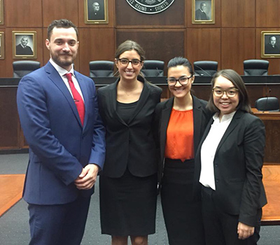 Jonathon Dotson '19, Hannah Nisson '19, Farishta Ahmadi '19 and Aima Mori '19 will represent Chicago-Kent in the national finals of the 2017 Thomas Tang National Moot Court Competition.