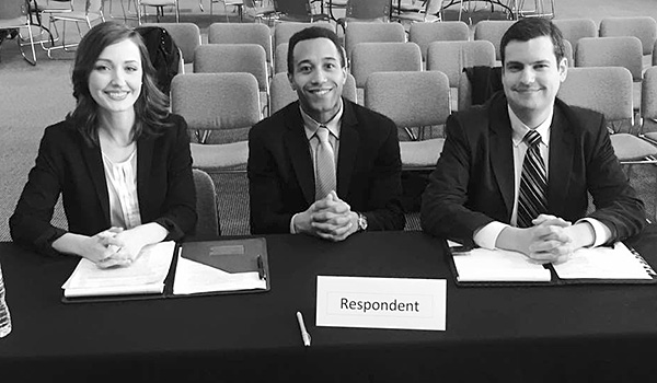 Erika Rodger '18, Anthony Joseph '18 and Christopher Gerardi '19 finished in second place and won the best brief award at the 2017 McGee National Civil Rights Moot Court Competition.