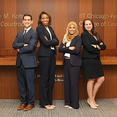 The team of Jesse Pollans '18, Alexis Halsell '18, Shahina Khan '18 and Kristen Farr Capizzi '18 won the Chicago regional championship of the 2018 American Association for Justice Student Trial Advocacy Competition. The team will advance to the national finals.
