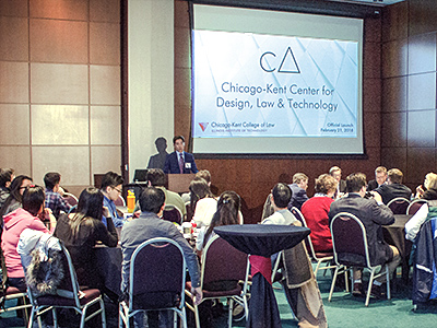 Professor Edward Lee speaks at the launch celebration for Chicago-Kent's new Center for Design, Law & Technology.