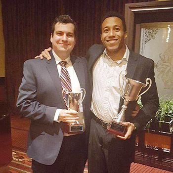 Christopher Gerardi '18 (left) and Anthony Joseph '18 won the first-place best brief award and finished in the final four in the 2017-18 Moot Court National Championship in Houston, Texas.