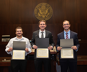 Mitchell Bild '20 won the Ralph L. Brill Award for Best Brief; Jack Etchingham '20 won the Ilana Diamond Rovner Award for Outstanding Appellate Advocate; and Alec Kraus '20 won the Fay Clayton Award for Outstanding Oral Advocate.