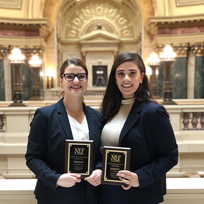 Gina Cesario '20 (left) and Noor Abdulmassih '20 placed second in the central regional tournament of the 2018 Thomas Tang National Moot Court Competition and will advance to the national rounds in November.