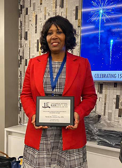 Assistant Dean Marsha Ross-Jackson accepted the Outstanding Law School Diversity Outreach Award on behalf of Chicago-Kent and also received with a Legal Education Access & Diversity Champion Award  at the 2019 National Black Pre-Law Conference and Law Fair.
