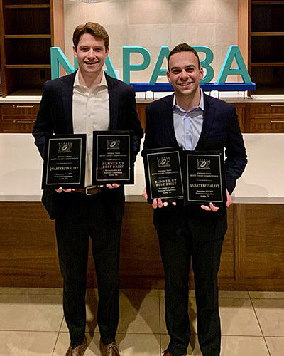 Kevin LaBarge '21 (left) and Micah Fishman '21 won the Runner-Up Best Brief Award and finished as quarterfinalists at the national finals of the 2019 Thomas Tang National Moot Court Competition.