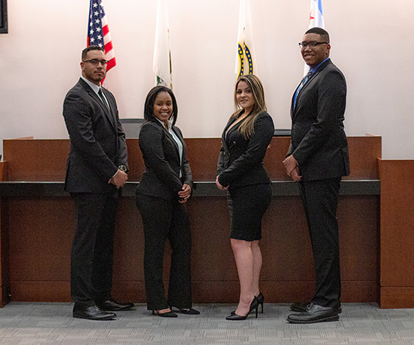The Chicago-Kent College of Law trial advocacy team of Shawn-Anthony Meyer '20, Annisha Arnold '20, Cristina Alma McNeiley '20, and Michael McGee '20 won the Midwest regional championship of the National Black Law Students Association's 2020 Constance Baker Motley Mock Trial Competition.