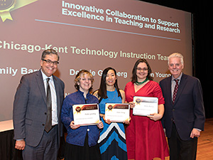 "Debbie Ginsberg (second from left), Dawn Young (center), and Emily Barney (second from right) won an Illinois Institute of Technology 2019 Team Excellence Award for ""Innovative Contribution to Support Excellence in Teaching and Research."