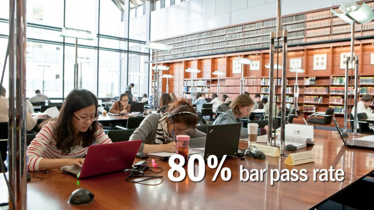 Students studying in library - 80% bar pass rate
