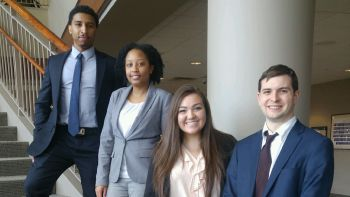 From left: Justin Taylor '19, Imani-Ari Asanté '19, Presley Valenzuela '18 and Michael Brew, Chicago-Kent's ABA Negotiation Competition regional teams