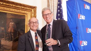 Distinguished Professor Sheldon Nahmod (left) accepts a 2018 Abner J. Mikva Award, presented by Geoffrey Stone, co-chair of the ACS Chicago Lawyer Chapter Board of Advisors.  Photo: Andrew Collings | Chicago Lawyer Chapter, American Constitution Society