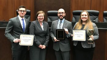 From left: Marko Ilich and his teammate, Katherine LaRosa, finished in the top four at the 2017 ALA National Moot Court Competition, and Timothy Lavino and Alexandrina Shrove  placed second.