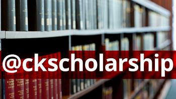 Photo of library stacks with text overlay of @ckscholarship Twitter handle