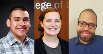 From left: Peggy Browning Fellows Nicolas Coronado '18, Miranda Huber '19 and Jeremiah Shavers '18