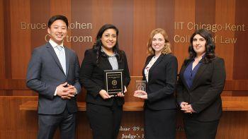 The Chicago-Kent trial advocacy team of Timothy Cho '20, Saman Haque '20, Jane Morrison '19, and Lilly Mashayek '20 finished as national quarterfinalists and won the best technology award at the 2019 Capitol City Challenge in Washington, D.C.