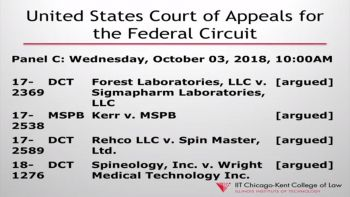 Preview of Federal Circuit arguments at Chicago-Kent, October 2018