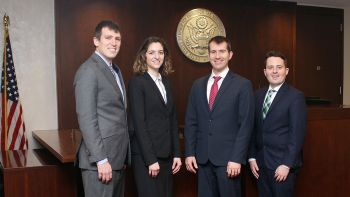 From left: Ben Mahon, Alanna Elinoff, Matthew Griffin and Cody Lipke will compete in the final rounds of the 2018 Ian Fletcher International Insolvency Law Moot in Vancouver, Canada.