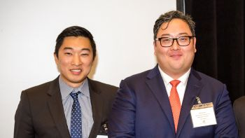 George Suh '18 (left) won a Diversity Scholarship from the Korean American Bar Association. He's pictured at the awards ceremony with Peter Huh, a member of organization's board of directors.