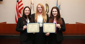 From left: Catherine Larson, Meaghan Fontein and Francyn Brown will advance to the national finals of the 2017 Saul Lefkowitz Moot Court Competition.