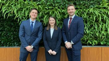From left: The Chicago-Kent trial advocacy team of Emin Drnovsek '21, Breana Brill '21, and Myles Carroll '20  placed second in the 2019 National Medical-Legal Trial Competition.