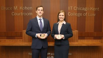 Quinn Ford '18 and Stephanie Flowers '18, winners of the National Moot Court Competition's Region VIII tournament, will advance to the national finals in New York.